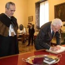 Il momento dell'ingresso del capo dello Stato nelle sale del Rettorato di Palazzo Bo